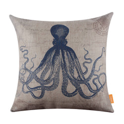 Sea Blue Octopus Decorative Pillow Cover