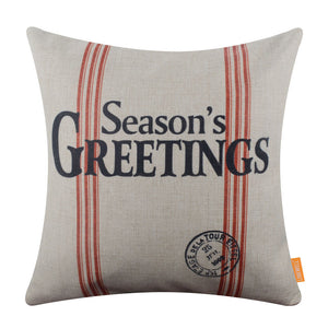 Season's Greetings Pillow Cover for Holiday Decor