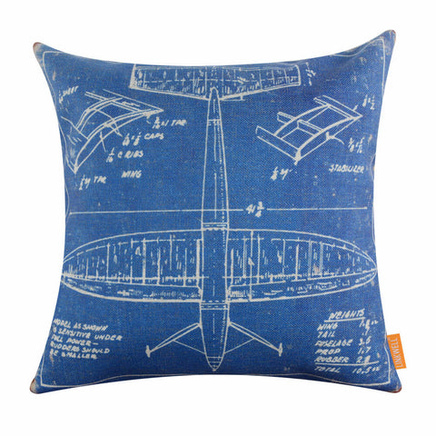 Image of Shabby Chic Blue Airplane Patent Pillow cover