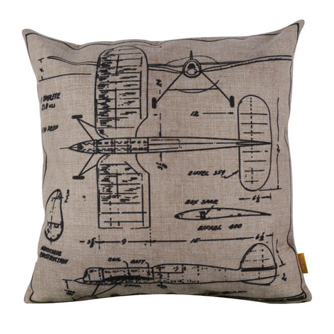 Image of Simplistic Sketched Airplane Blueprint Pillow Cover