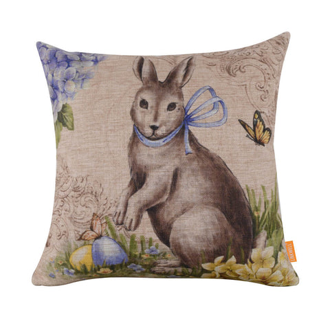Sophisticated Bunny Egg Butterflies Square Cushion Cover