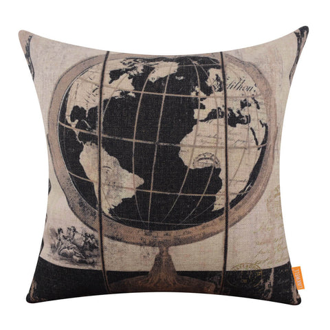 Image of Spherical Earth Globe Black Car Seat Cushion Cover