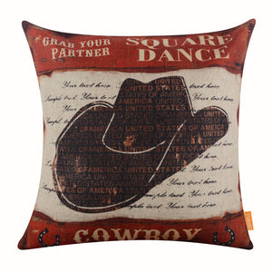 Square Dance Cowboy Hat Pillow Cover