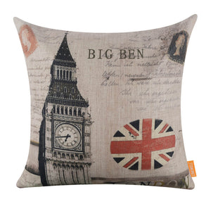 Stylish Big Ben Union Jack Square Cushion Cover