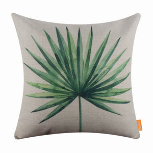 Summer Palm Leaf Pillow Cover
