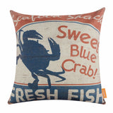 Sweet Blue Crab Pillow Cover
