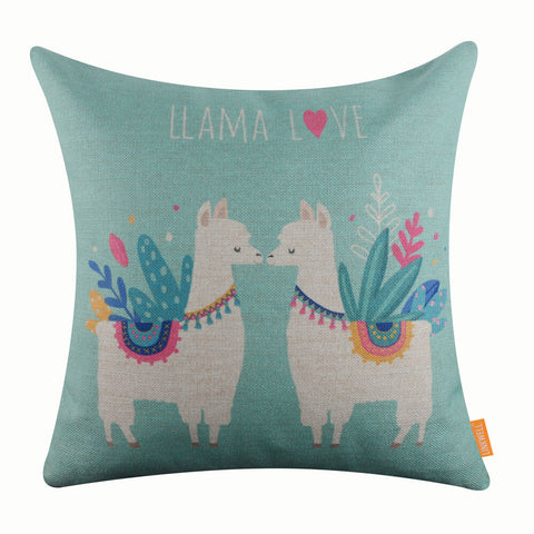 Image of Sweet Llama Blue Pillow Cover