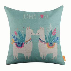 Sweet Llama Blue Pillow Cover