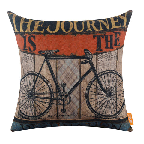 Image of Teak Wooden Bicycle Pillow Cover