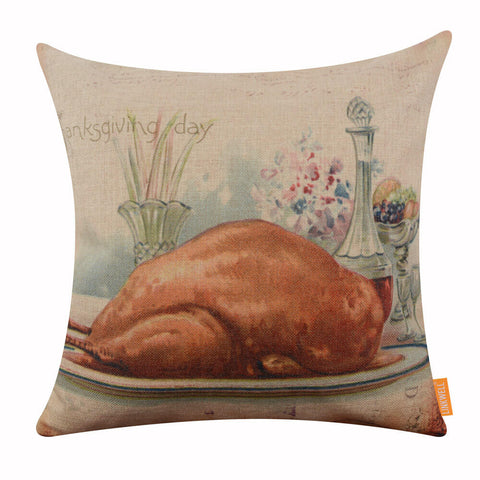 Image of Thanksgiving Day Turkey Pillow Cover