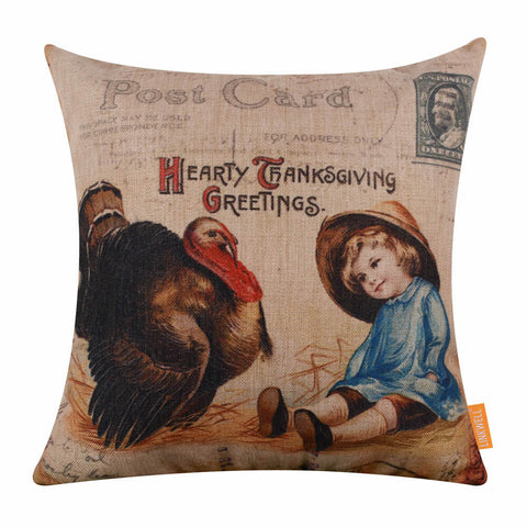 Image of Thanksgiving Turkey Pillow Cover