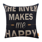 The River Makes  Me Happy Pillow Cover for Couch