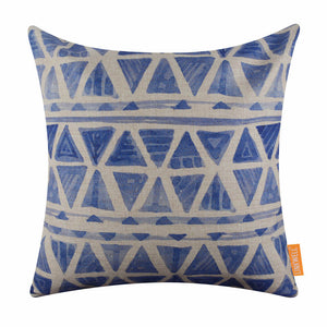 Tie Dye Triangle Blue Pillow Cover
