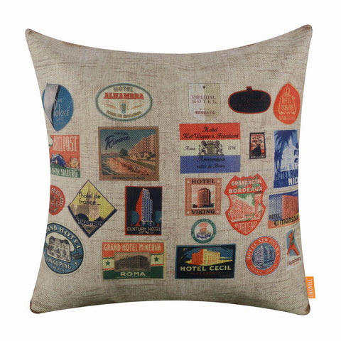 Image of Travel Stamp Pillow Cover