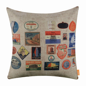Travel Stamp Pillow Cover