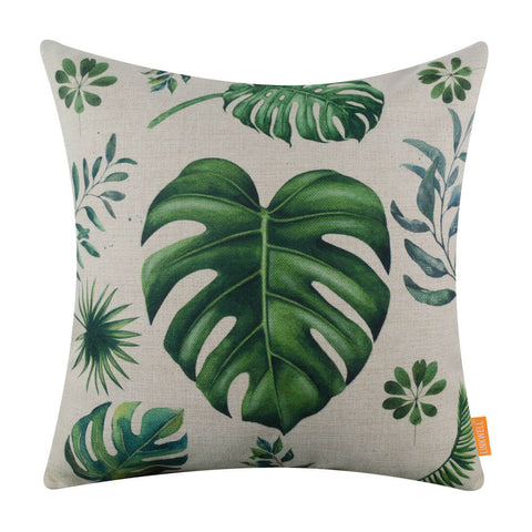 Image of Tropical Green Leaf Decorative Pillow Cover