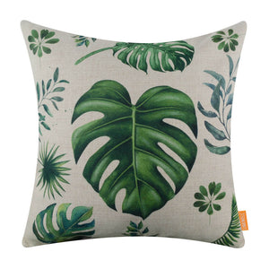 Tropical Green Leaf Decorative Pillow Cover