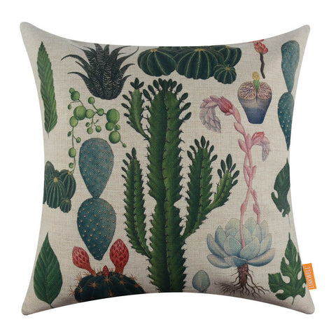 Image of Tropical Plant Cactus Green Pillow Cover