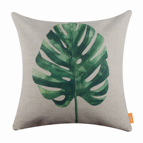 Image of Tropical Green Leaf Pillow Cover