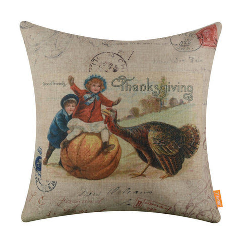 Turkey Thanksgiving Pillow Cover