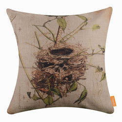 Twig Leaves Nest Pillow Cover