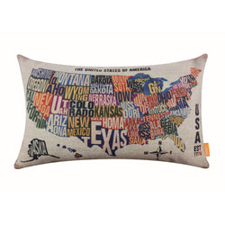 United States map pillow cover