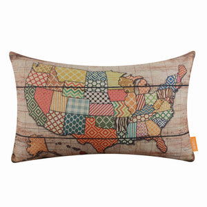 United States of America Map pillow cover