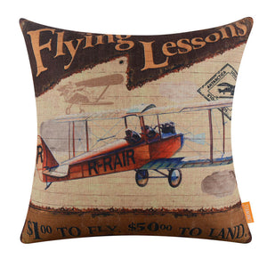 Vintage Aeroplane Decorative Pillow Cover