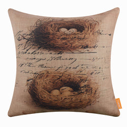 Vintage Bird Nest Pillow Cover