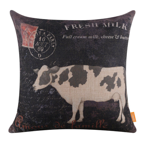 Vintage Black Cow Pillow Cover
