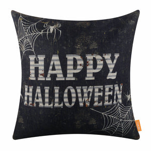 Vintage Black Happy Halloween Theme Pillow Cover