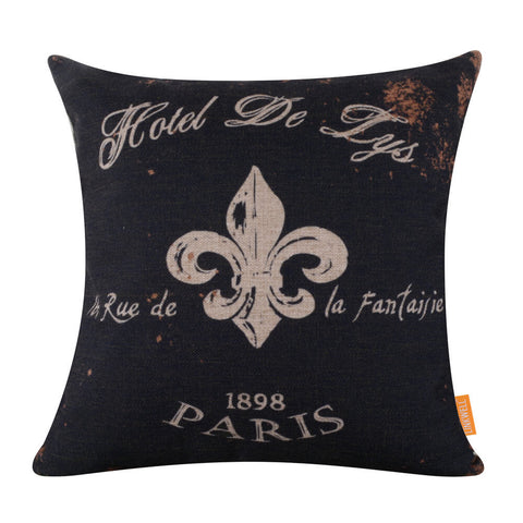 Image of Vintage Black Paris Fleur De Lys Square Cushion Cover