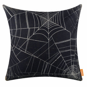 Vintage Black Spider Web Pillow Cover for Halloween