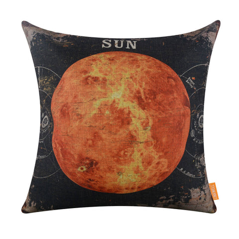 Vintage Black Sun Decorative Pillow Shams