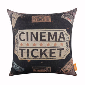 Vintage Black Ticket Pillow Cover