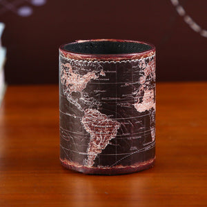 Vintage Black World Map Pen Holder