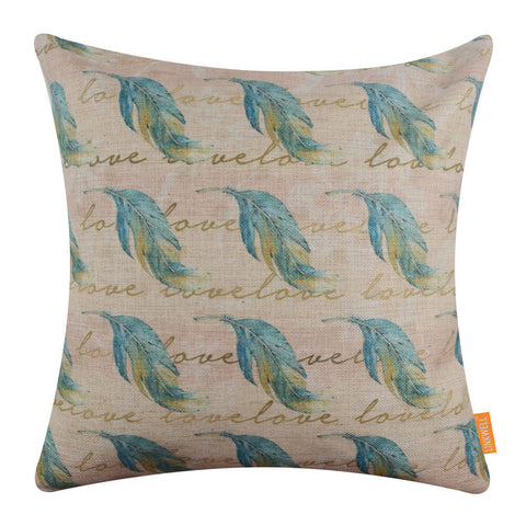 Vintage Blue Feather Pillow Cover