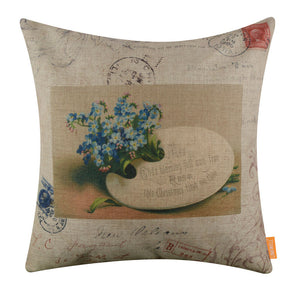 Vintage Blue Flower Christmas Postcard Pillow Cover