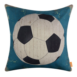 Vintage Blue Football Pillow Cover