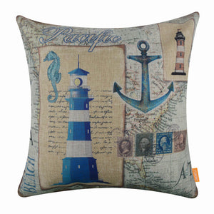 Vintage Blue Lighthouse Cushion Cover