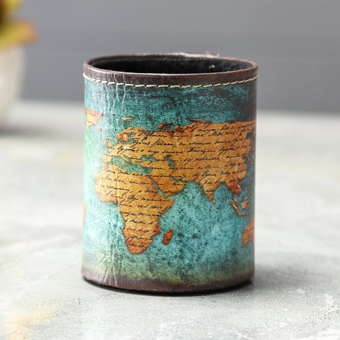 Vintage Blue World Map Pencil Cup Holder