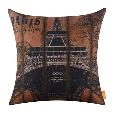 Vintage Brown Paris Eiffel Tower Cushion Pillow Cover
