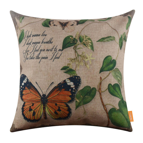 Image of Vintage Butterfly with Green Leaf Pillow Cover