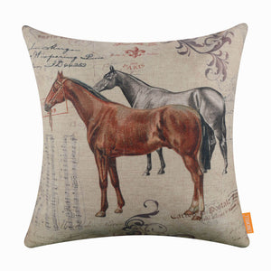Vintage Horse Pillow Cover