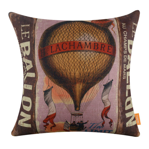 Vintage Hot Air Balloon Pillowcase Cover