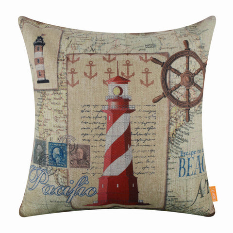 Image of Vintage Lighthouse Pillow Cover