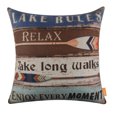 Image of Vintage Oars Lake Rules Couch Pillow Cover