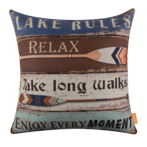 Vintage Oars Lake Rules Couch Pillow Cover