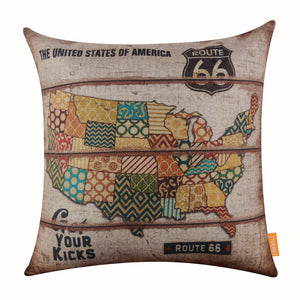 Vintage Patchwork American Map Pillow Cover
