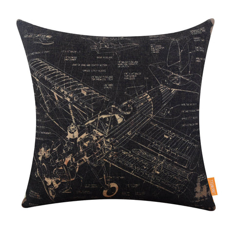Vintage Plane Patent Square Throw Pillow Cover